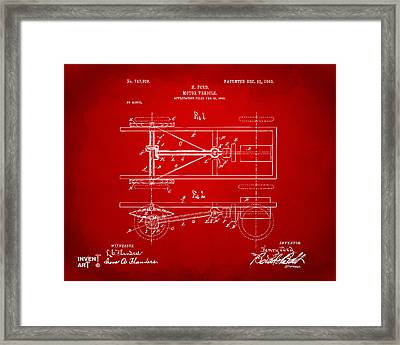 1903 Henry Ford Model T Patent Red Framed Print by Nikki Marie Smith