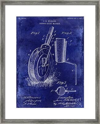 1903 Tennis Court Marker Patent Drawing Blue Framed Print by Jon Neidert