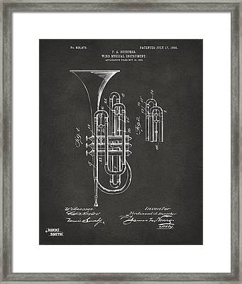 1906 Brass Wind Instrument Patent Artwork - Gray Framed Print by Nikki Marie Smith