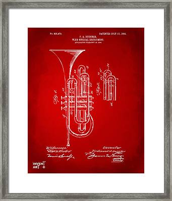 1906 Brass Wind Instrument Patent Artwork Red Framed Print by Nikki Marie Smith