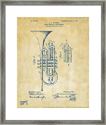 1906 Brass Wind Instrument Patent Artwork Vintage Framed Print by Nikki Marie Smith