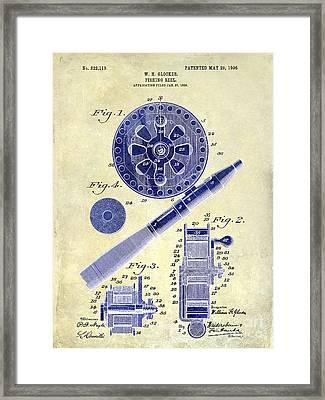 1906 Fishing Reel Patent Drawing 2 Tone Framed Print by Jon Neidert