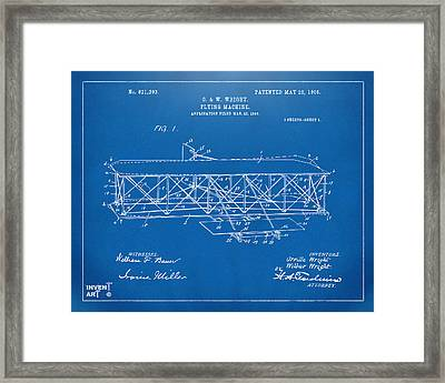 1906 Wright Brothers Flying Machine Patent Blueprint Framed Print by Nikki Marie Smith
