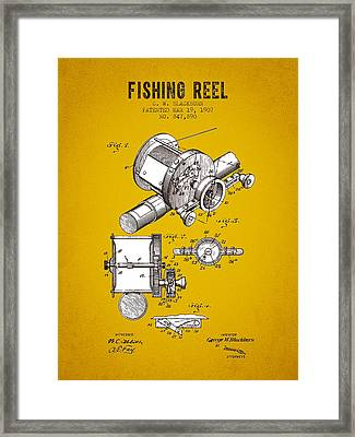 1907 Fishing Reel Patent - Yellow Brown Framed Print by Aged Pixel