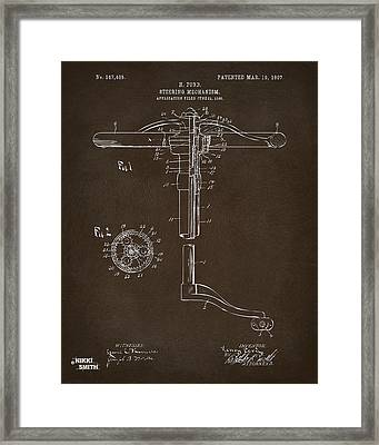 1907 Henry Ford Steering Wheel Patent Espresso Framed Print by Nikki Marie Smith