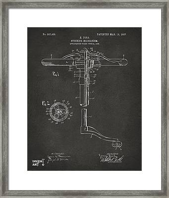 1907 Henry Ford Steering Wheel Patent Gray Framed Print by Nikki Marie Smith