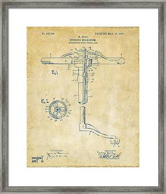 1907 Henry Ford Steering Wheel Patent Vintage Framed Print by Nikki Marie Smith