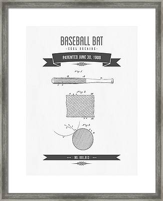 1908 Baseball Bat Patent Drawing Framed Print by Aged Pixel