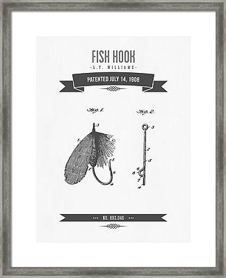 1908 Fish Hook Patent Drawing - Retro Gray Framed Print by Aged Pixel