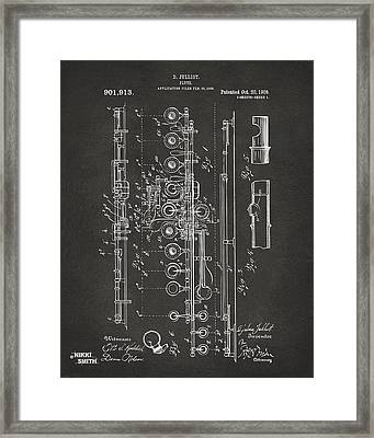 1908 Flute Patent - Gray Framed Print by Nikki Marie Smith