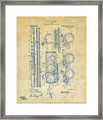 1909 Flute Patent - Vintage Framed Print by Nikki Marie Smith