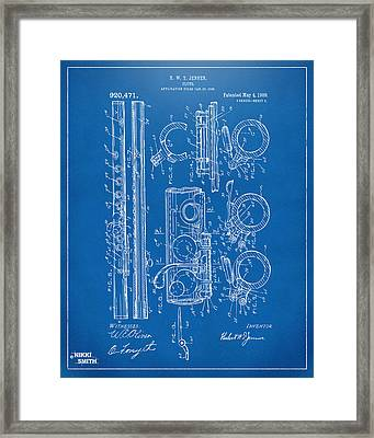 1909 Flute Patent - Blueprint Framed Print by Nikki Marie Smith