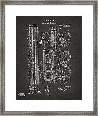 1909 Flute Patent - Gray Framed Print by Nikki Marie Smith