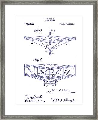 1909 Flying Machine Patent Drawing Blueprint Framed Print by Jon Neidert
