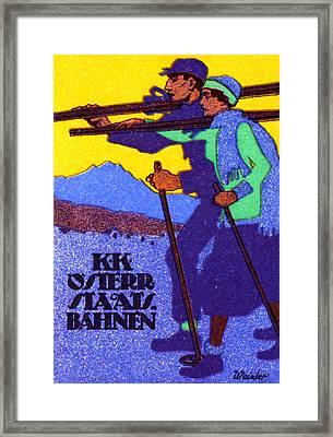 1910 Austrian Ski Poster Framed Print by Historic Image