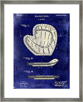 1910 Baseball Patent Drawing 2 Tone Blue Framed Print by Jon Neidert