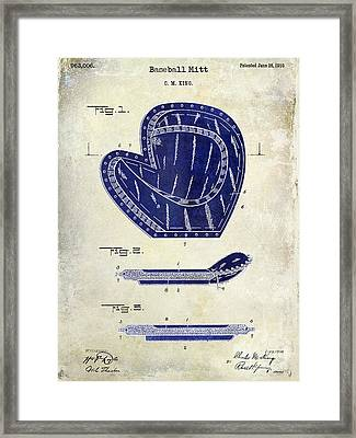 1910 Baseball Patent Drawing 2 Tone Framed Print by Jon Neidert