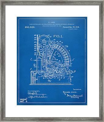 1910 Cash Register Patent Blueprint Framed Print by Nikki Marie Smith