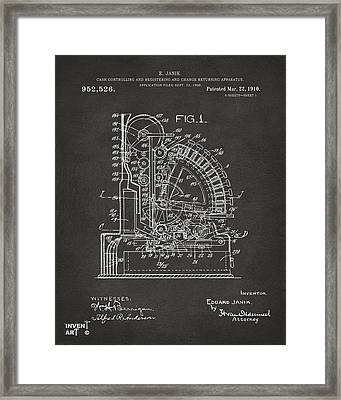 1910 Cash Register Patent Gray Framed Print by Nikki Marie Smith