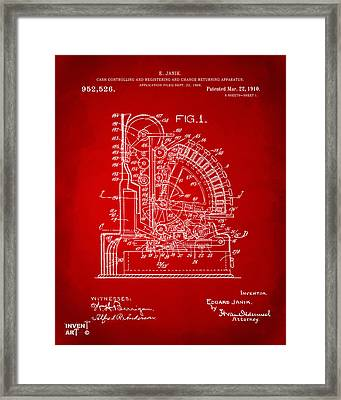 1910 Cash Register Patent Red Framed Print by Nikki Marie Smith