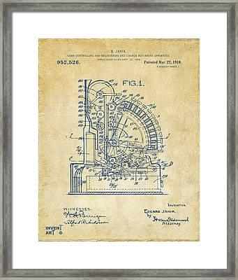 1910 Cash Register Patent Vintage Framed Print by Nikki Marie Smith
