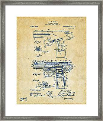 1911 Automatic Firearm Patent Artwork - Vintage Framed Print by Nikki Marie Smith