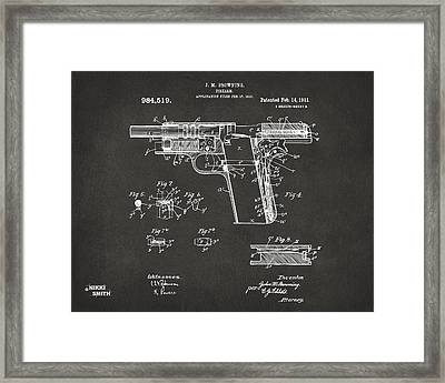 1911 Colt 45 Browning Firearm Patent 2 Artwork - Gray Framed Print by Nikki Marie Smith