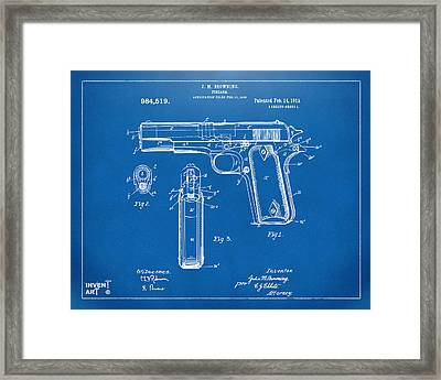 1911 Colt 45 Browning Firearm Patent Artwork Blueprint Framed Print by Nikki Marie Smith