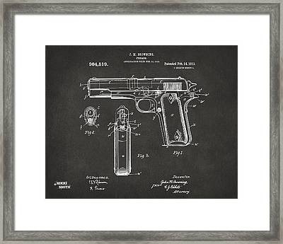 1911 Browning Firearm Patent Artwork - Gray Framed Print by Nikki Marie Smith