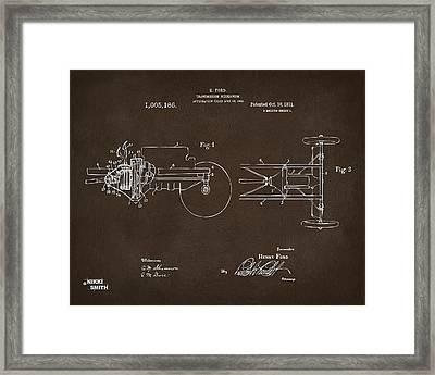 1911 Henry Ford Transmission Patent Espresso Framed Print by Nikki Marie Smith