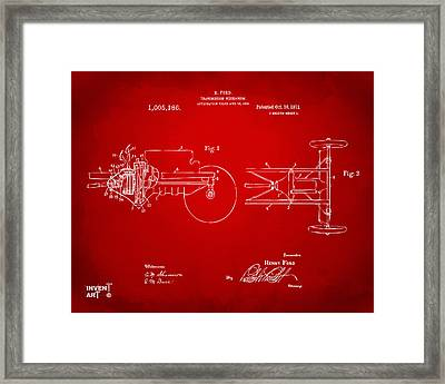1911 Henry Ford Transmission Patent Red Framed Print by Nikki Marie Smith
