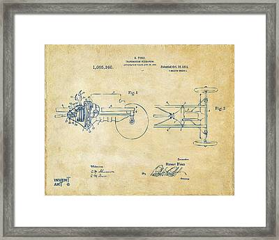 1911 Henry Ford Transmission Patent Vintage Framed Print by Nikki Marie Smith