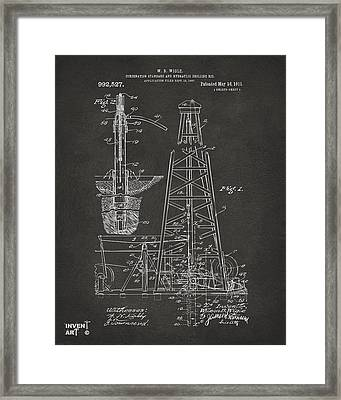 1911 Oil Drilling Rig Patent Artwork - Gray Framed Print by Nikki Marie Smith