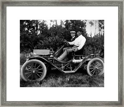 1912 Antique Auto Proves Better Then Horse And Carriage. Framed Print by Retro Images Archive