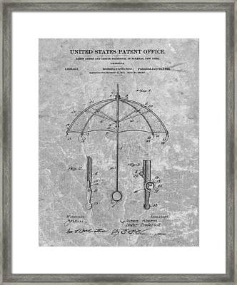 1912 Umbrella Patent Charcoal Framed Print by Dan Sproul