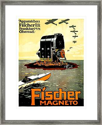 1913 - Fischer Magneto German Advertisement Poster - Color Framed Print by John Madison