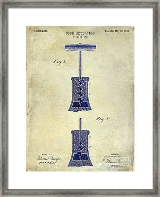 1913 Cork Extractor Patent Drawing 2 Tone Framed Print by Jon Neidert