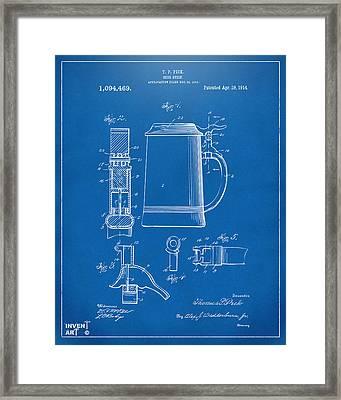 1914 Beer Stein Patent Artwork - Blueprint Framed Print by Nikki Marie Smith
