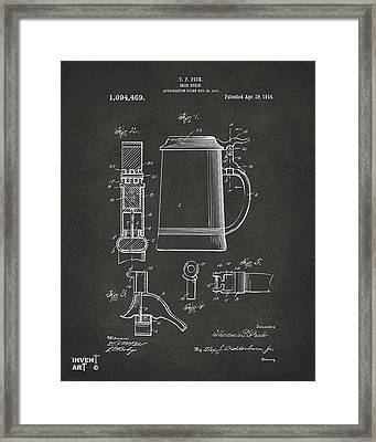 1914 Beer Stein Patent Artwork - Gray Framed Print by Nikki Marie Smith