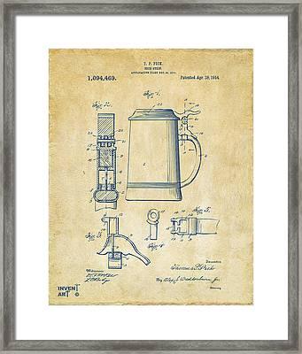 1914 Beer Stein Patent Artwork - Vintage Framed Print by Nikki Marie Smith