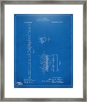 1914 Flute Patent - Blueprint Framed Print by Nikki Marie Smith