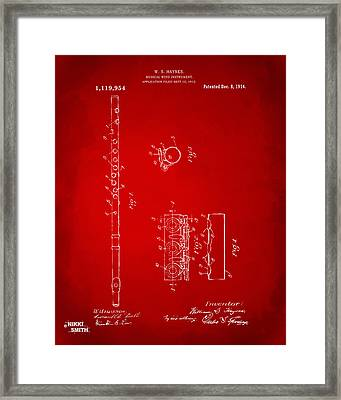 1914 Flute Patent - Red Framed Print by Nikki Marie Smith