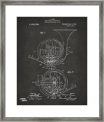 1914 French Horn Patent Art - Gray Framed Print by Nikki Marie Smith