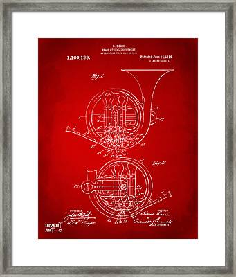 1914 French Horn Patent Art Red Framed Print by Nikki Marie Smith