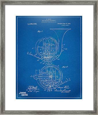 1914 French Horn Patent Blueprint Framed Print by Nikki Marie Smith