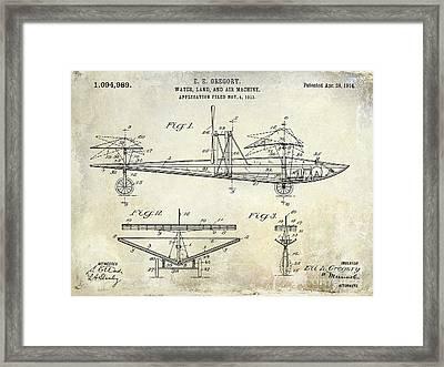 1914 Water Land And Air Machine Patent Framed Print by Jon Neidert