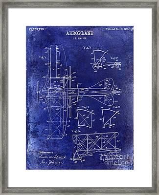1915 Aeroplane Patent Drawing Blue Framed Print by Jon Neidert
