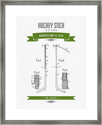 1915 Hockey Stick Patent Drawing - Retro Green Framed Print by Aged Pixel
