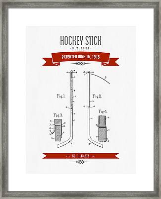 1915 Hockey Stick Patent Drawing - Retro Red Framed Print by Aged Pixel