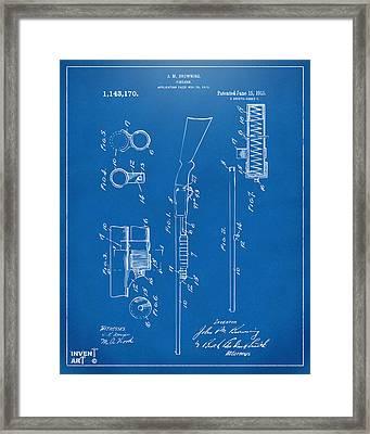 1915 Ithaca Shotgun Patent Blueprint Framed Print by Nikki Marie Smith